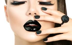 Картинка black, model, nails, eyebrows, make up