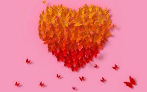 Картинка бабочки, рендеринг, сердце, colorful, love, heart, композиция, rendering, paper, butterflies, composition, floral