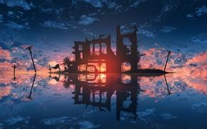 Картинка вода, закат, руины, лэп