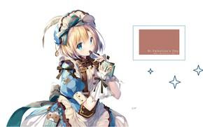 Картинка шоколадка, белый фон, сумочка, бантики, голубые глаза, чепчик, оборки, valentine`s day, кринолин, by Shimesaba Kohada