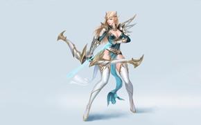 Картинка Girl, Art, Style, Magic, Background, Arrow, Elf, Minimalism, Archer, Huntress, Maxi Hoy