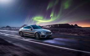 Картинка рендеринг, Mercedes-Benz, скорость, северное сияние, AMG, C63, CGI, C-Class