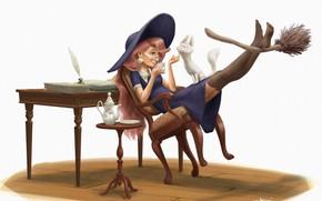 Картинка кошка, чаепитие, ведьма, метла