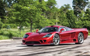 Картинка Зелень, Дорога, Saleen, Фары, Диски, Суперкар, 2005, Twin Turbo, Saleen S7 Twin Turbo