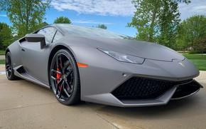 Картинка серый, спорткар, Huracan, Lamborghini Huracan