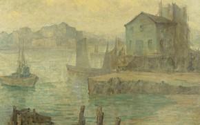 Картинка пейзаж, дом, Maurice Braun, ЛОДКИ в ГАВАНИ, Морис Браун