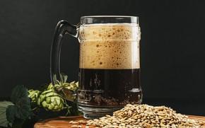Картинка пена, стол, фон, пиво, кружка, зёрна, хмель