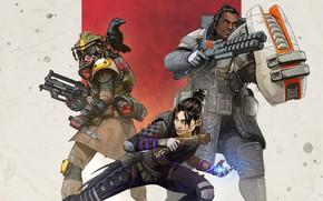 Картинка девушка, оружие, ворон, персонажи, Apex Legends