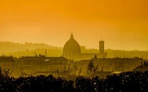Картинка Италия, панорама, зарево, дымка, Флоренция, Санта-Мария-дель-Фьоре