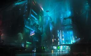 Обои Ночь, Город, Будущее, Фантастика, Neon, Киберпанк, Cyberpunk, Неоны, Chris Ostrowski, Block 7F-2, by Chris Ostrowski