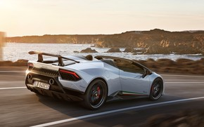 Картинка побережье, Lamborghini, Spyder, 2018, Performante, Huracan