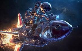 Картинка пламя, космонавт, полёт, аппарат, Retrofuturist