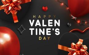 Картинка шарики, серый, фон, подарки, сердечки, открытка, декор, Valentines Day