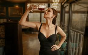 Картинка девушка, поза, вино, бокал, платье, шатенка, Иван Ковалёв