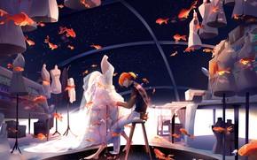 Картинка рыбки, золотые рыбки, парень, манекены, стилист, портной
