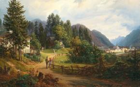 Картинка 1851, Austrian painter, австрийский живописец, A view of Bad Ischl, Вид на Бад - Ишль, …