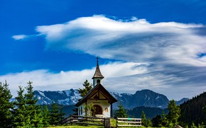 Картинка небо, облака, горы, часовня