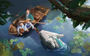 Картинка fantasy, water, lake, dragon, artist, digital art, berries, artwork, boat, plants, fantasy art, children, creature, …