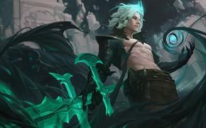Картинка магия, тень, меч, демон, воин, фэнтези, арт, парень, Viego, Лейя Чан