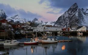 Картинка вода, горы, город, дома, норвегия