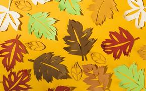 Картинка осень, листья, фон, colorful, background, autumn, leaves, осенние, paper, бумажные