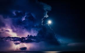Картинка гроза, тучи, молнии, Луна, moon, lightning, clouds, thunderstorm, Takafumi Yamashita