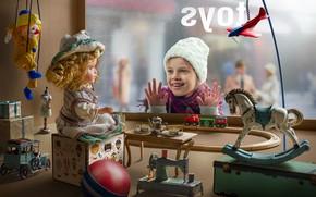 Картинка радость, детство, игрушки, девочка, ребёнок, витрина, Dmitry Usanin, Дмитрий Усанин