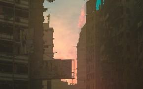 Картинка Город, Здания, City, Арт, Рендеринг, by Gilbert Nathaniel Salim, Kowloon 2020, Gilbert Nathaniel Salim