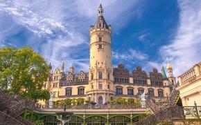Картинка замок, башня, Германия, архитектура, Шверин, Schwerin Castle