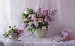 Картинка розы, букет, книга, сирень