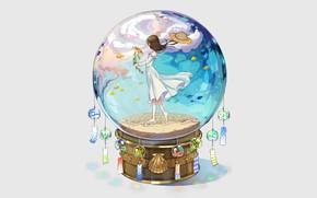 Картинка девушка, фон, шар