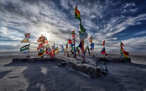 Картинка lake, Salar de Uyuni, salt, Flags, Bolivia