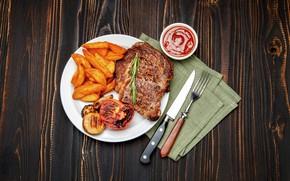 Картинка тарелка, мясо, вилка, помидоры, соус, картофель