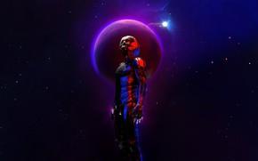 Картинка Звезды, Череп, Скафандр, Планета, Космос, Fantasy, Star, Арт, Stars, Render, Planet, Concept Art, Science Fiction, …