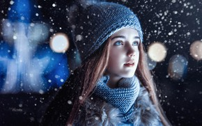 Картинка зима, взгляд, снег, шапка, девочка, Sergey Piltnik