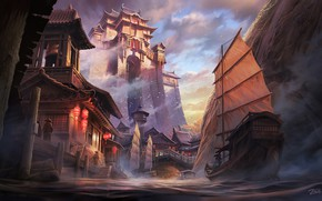 Картинка Река, Дворец, Замок, Корабль, Стиль, Азия, Паруса, Архитектура, Style, Palace, Castle, River, Asia, Ship, Architecture, …