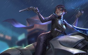 Картинка девушка, пистолет, оружие, дождь, игра, аниме, арт, Persona 5, Персона 5