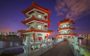 Картинка Азия, Сингапур, пагода, мостик, Китайские сады