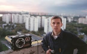 Картинка микрофон, бумбокс, многоэтажки, Антоха MC