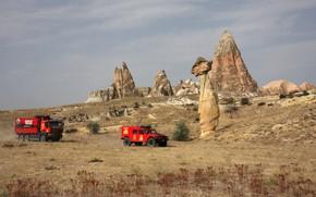 Картинка скалы, растительность, равнина, внедорожник, грузовик, красные, Renault, Sherpa, Renault Trucks, Kerax