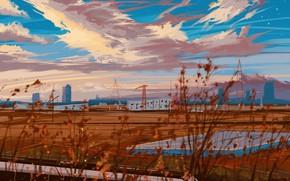 Картинка осень, город, поезд