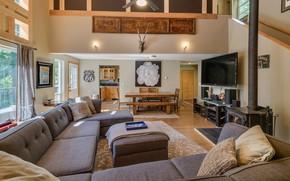 Картинка интерьер, кухня, камин, гостиная, столовая, ранчо, деревенский дом, The Rustic at Lake Wenatchee