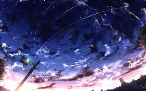Картинка закат, город, светофор
