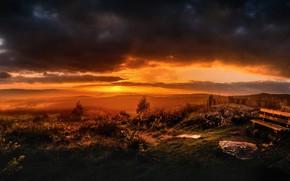 Картинка закат, ночь, скамья