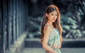 Картинка девушка, волосы, платье, азиатка, боке