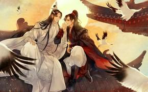 Картинка солнце, крылья, друзья, длинные волосы, на крыше, журавли, два парня, красная ленточка, желтое небо, китайская …