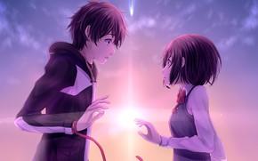 Картинка романтика, Небо, аниме, арт, двое, Kimi no Na wa, Твоё имя