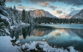 Обои зима, лес, облака, снег, горы, озеро, ели, сугробы, водоем