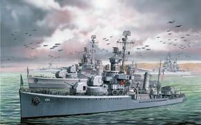 Картинка ВМС США, US NAVY, Masao Satake, Эскадренный миноносец, USS Lansdowne, американский эсминец типа Gleaves, USS …