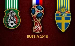 Картинка wallpaper, sport, logo, football, FIFA World Cup, Russia 2018, Mexico vs Sweden
